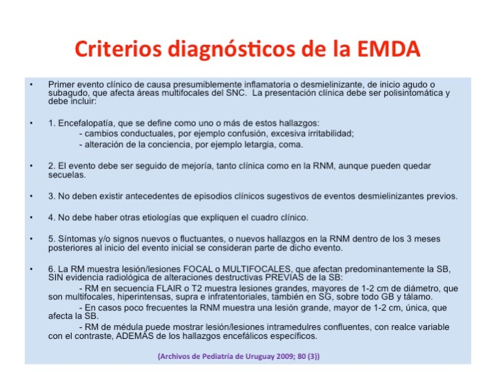 Criterios diagnósticos.